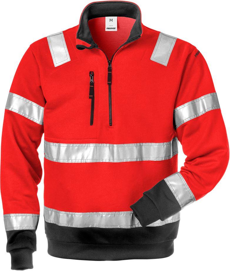 Fristads Men's Varsel Sweatshirt 728 SHV, klass 3, Varsel Röd/Svart