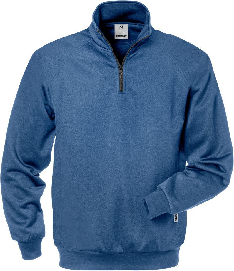 Fristads Men's Sweatshirt med kort dragkedja 7048 SHV, Blå