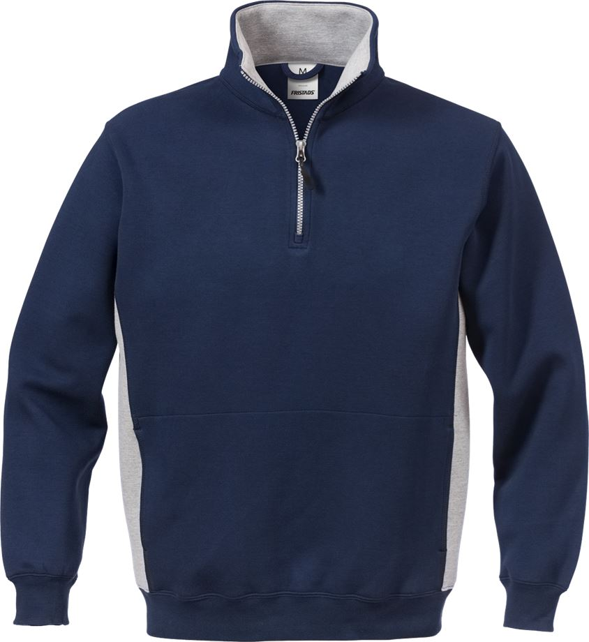 Fristads Men's Acode sweatshirt med kort dragkedja 1705 DF, Marinblå/Grå