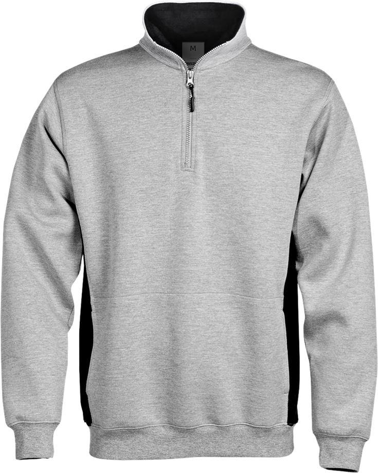 Fristads Men's Acode sweatshirt med kort dragkedja 1705 DF, Ljusgrå