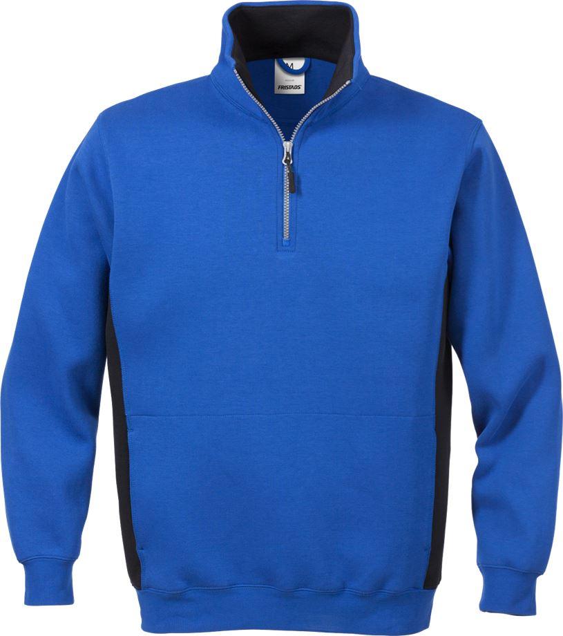 Fristads Men's Acode sweatshirt med kort dragkedja 1705 DF, Royalblå/Svart