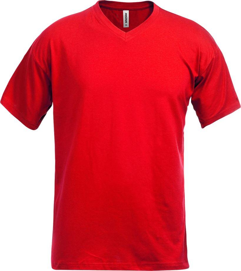 Fristads Men's Acode v-ringad T-shirt 1913 BSJ, Röd