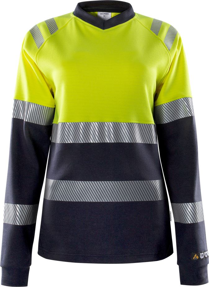 Fristads Women's Flamestat långärmad T-shirt 7108 TFL klass 1, dam, Varsel Gul/Marinblå