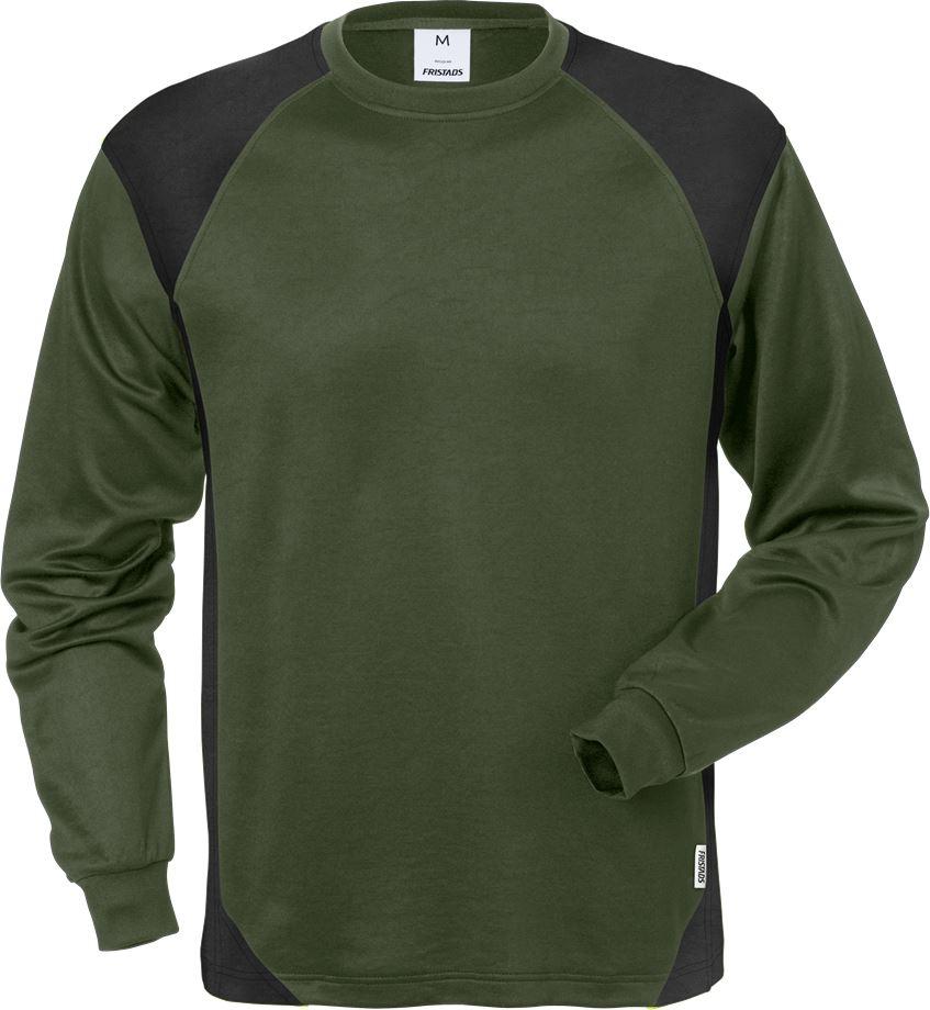 Fristads Men's Långärmad T-shirt 7071 THV, Militärgrön/Svart