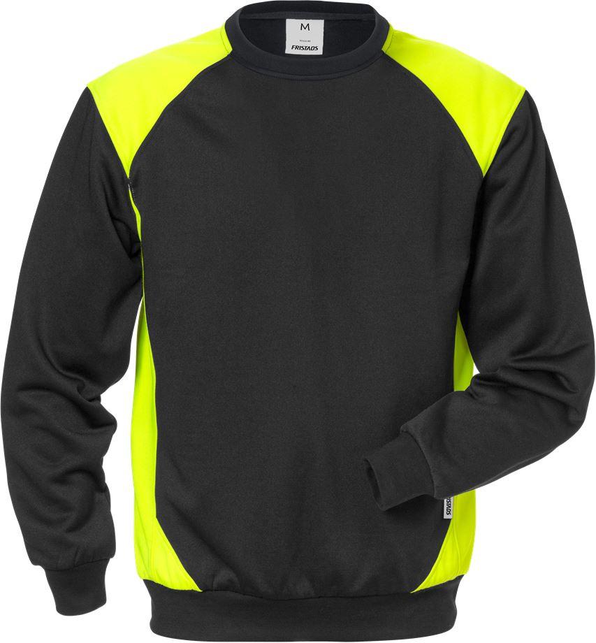 Fristads Men's Sweatshirt 7148 SHV, Svart/Varsel Gul