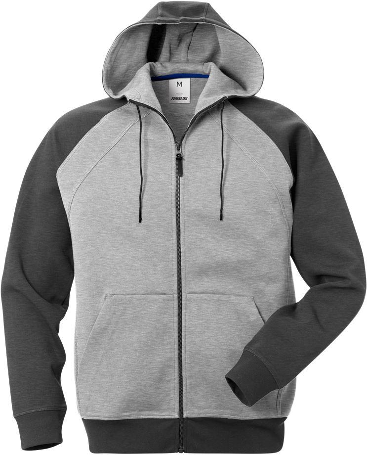 Fristads Men's Acode sweatshirt-jacka med huva 1757 DF, Grå/Mörkgrå