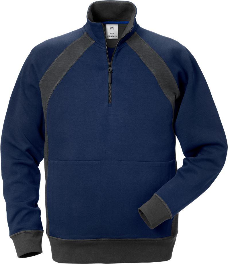 Fristads Men's Acode sweatshirt med kort dragkedja 1755 DF, Marinblå/Grå