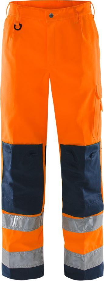 Fristads Men's Varselbyxa 2001 TH, klass 2, Varsel Orange/Marinblå