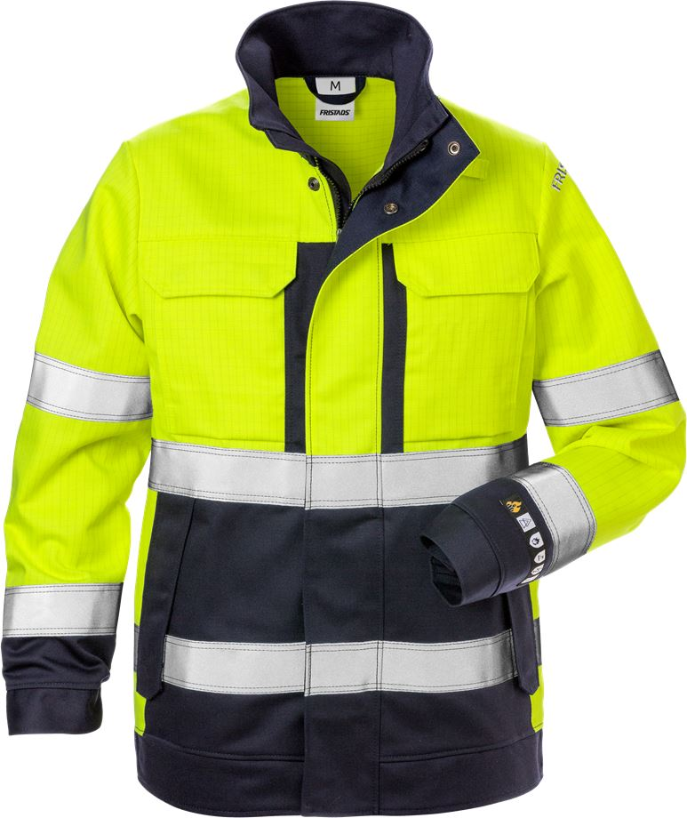 Fristads Women's Flamskyddad jacka 4590 FLAM klass 3, dam, Varsel Gul/Marinblå
