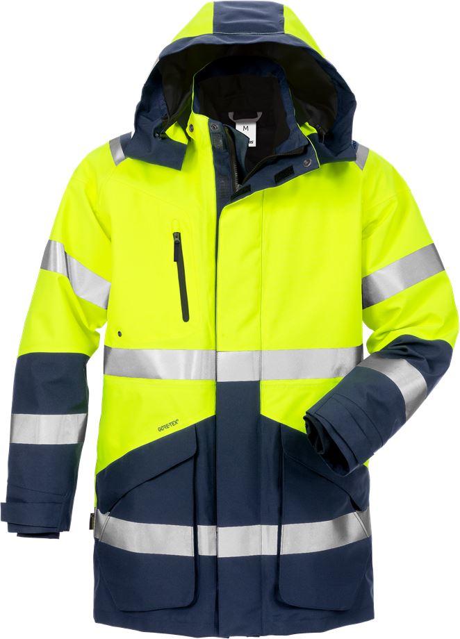 Fristads Men's Varsel GORE-TEX 3-i-1 parkas 4989 GXB, klass 3, Varsel Gul/Marinblå