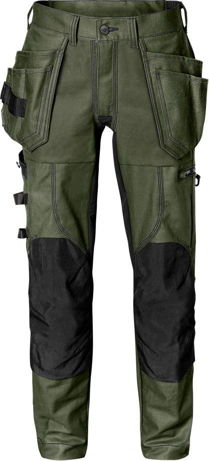 Fristads Men's Hantverkarbyxa stretch 2604 FASG, Militärgrön/Svart