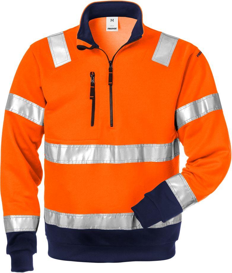 Fristads Men's Varsel Sweatshirt 728 SHV, klass 3, Varsel Orange/Marinblå