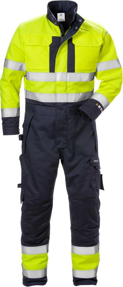 Fristads Men's Flamskyddad vinteroverall 8088 FLAM, klass 3, Varsel Gul/Marinblå