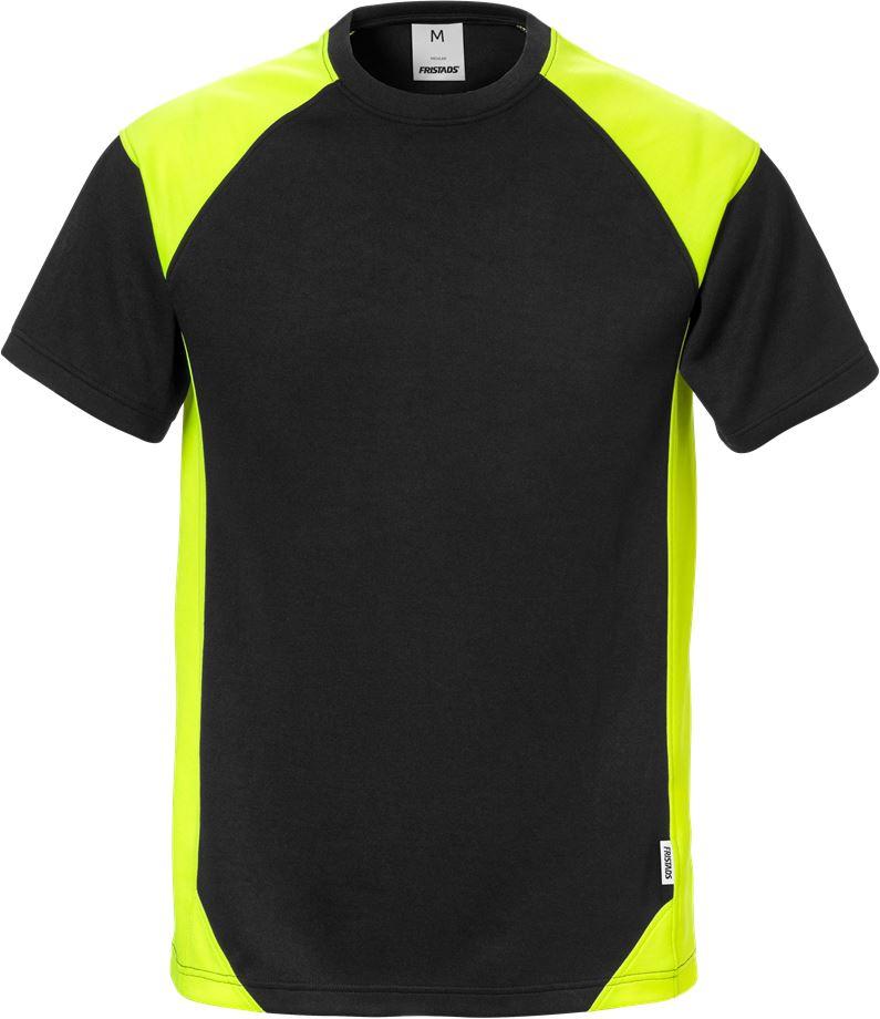 Fristads Men's T-shirt 7046 THV, Svart/Varsel Gul