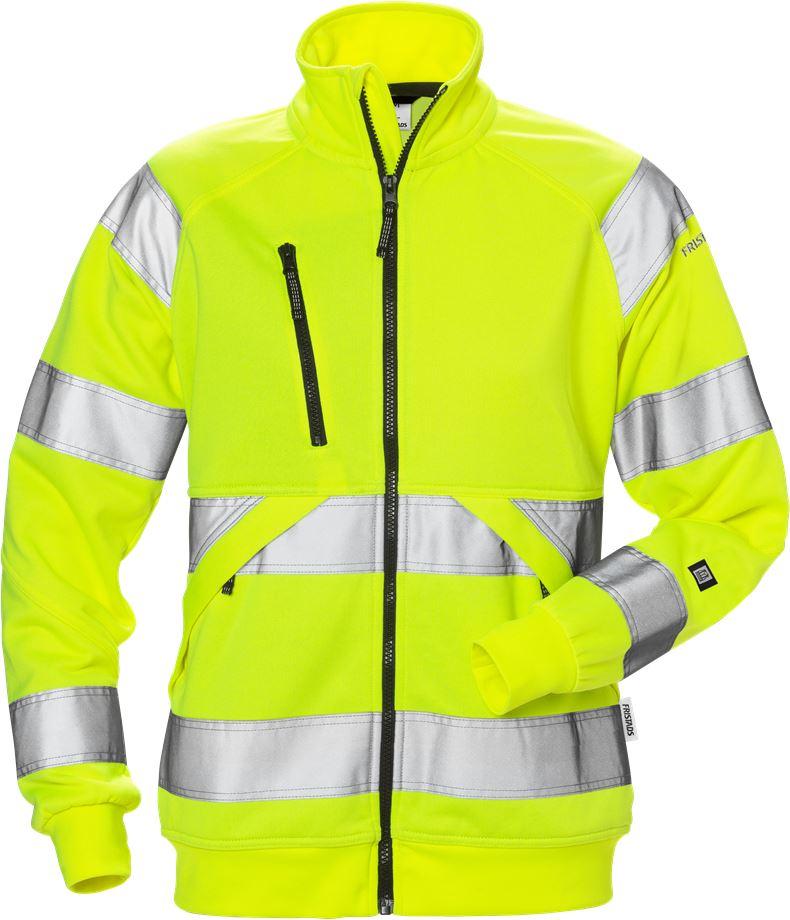 Fristads Women's Varsel sweatshirt-jacka 7427 SHV klass 3, dam, Varsel Gul
