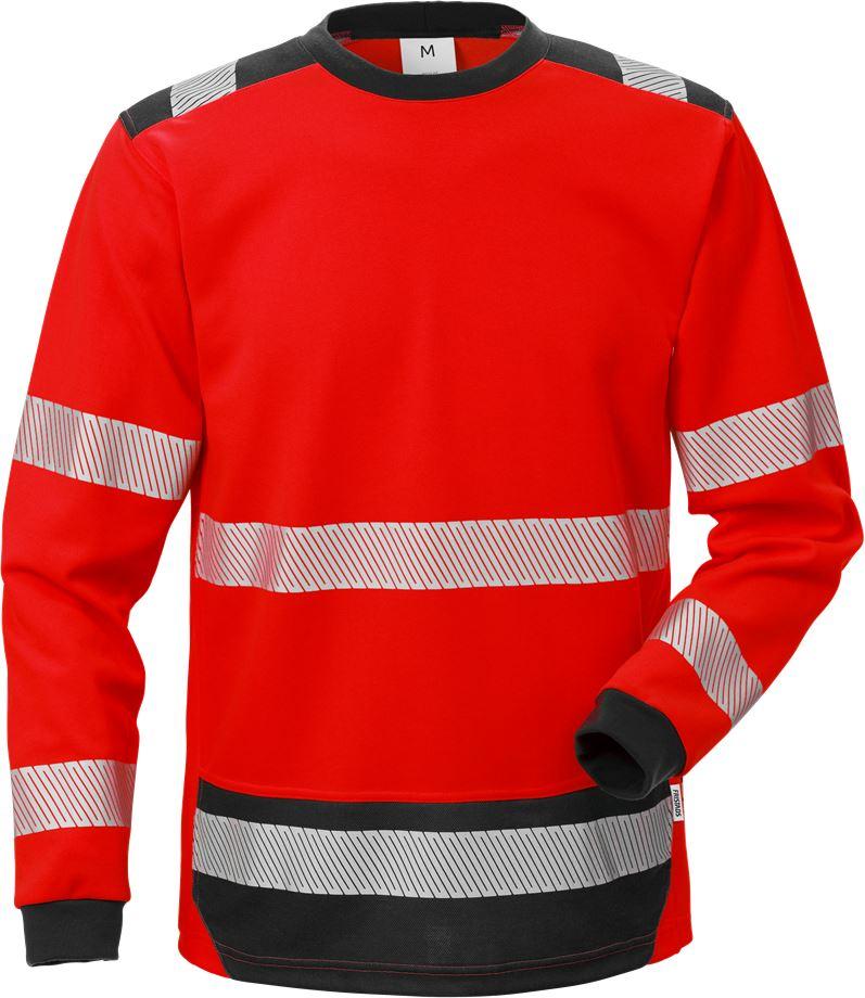 Fristads Men's Varsel Långärmad T-shirt 7724 THV, klass 3, Varsel Röd/Svart