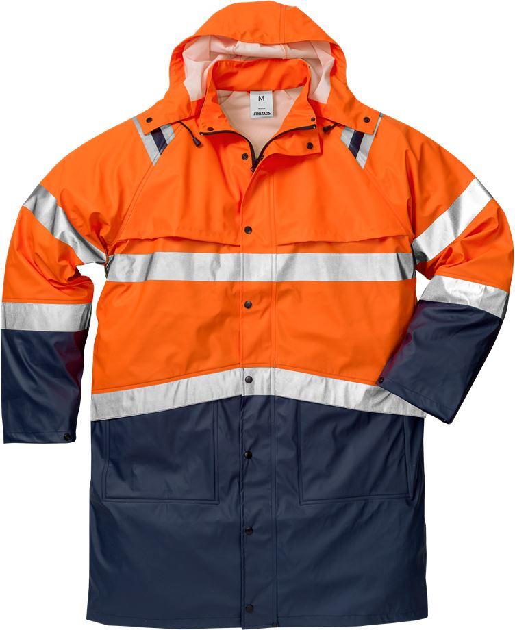 Fristads Unisex Varsel Regnrock 4634 RS, klass 3, Varsel Orange/Marinblå