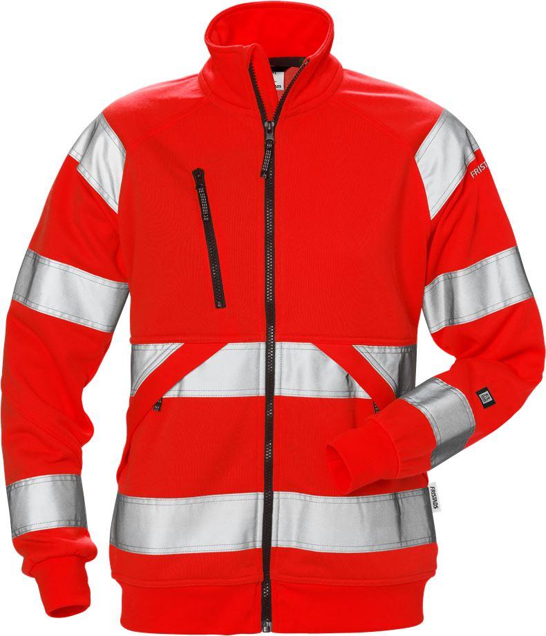 Fristads Women's Varsel sweatshirt-jacka 7427 SHV klass 3, dam, Varsel Röd