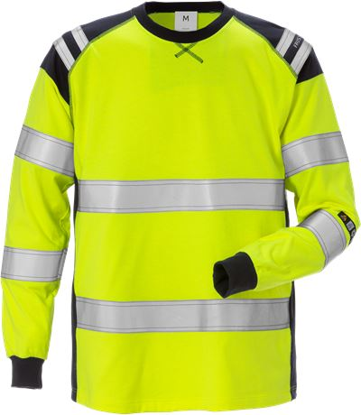 Flamestat high vis long sleeve t-shirt class 3 7077 TFLH 1 Fristads  Large