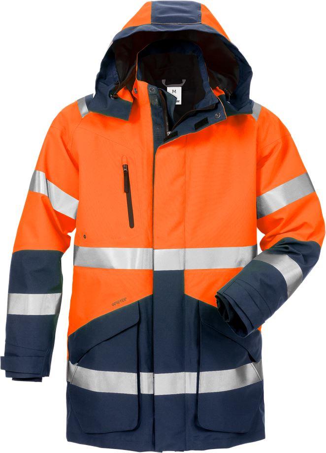 Fristads Men's Varsel GORE-TEX 3-i-1 parkas 4989 GXB, klass 3, Varsel Orange/Marinblå