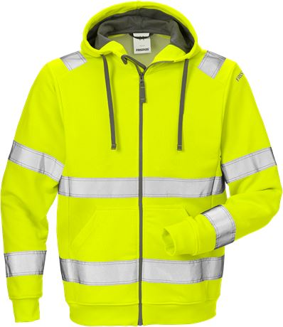 High vis hooded sweat jacket cl 3 7408 SHV 1 Fristads  Large