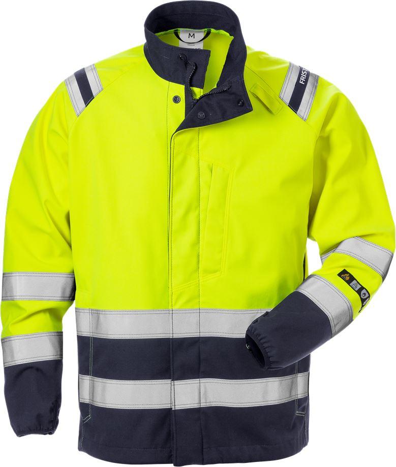 Fristads Men's Flamestat softshell-jacka 4016 FSS, klass 3, Varsel Gul/Marinblå
