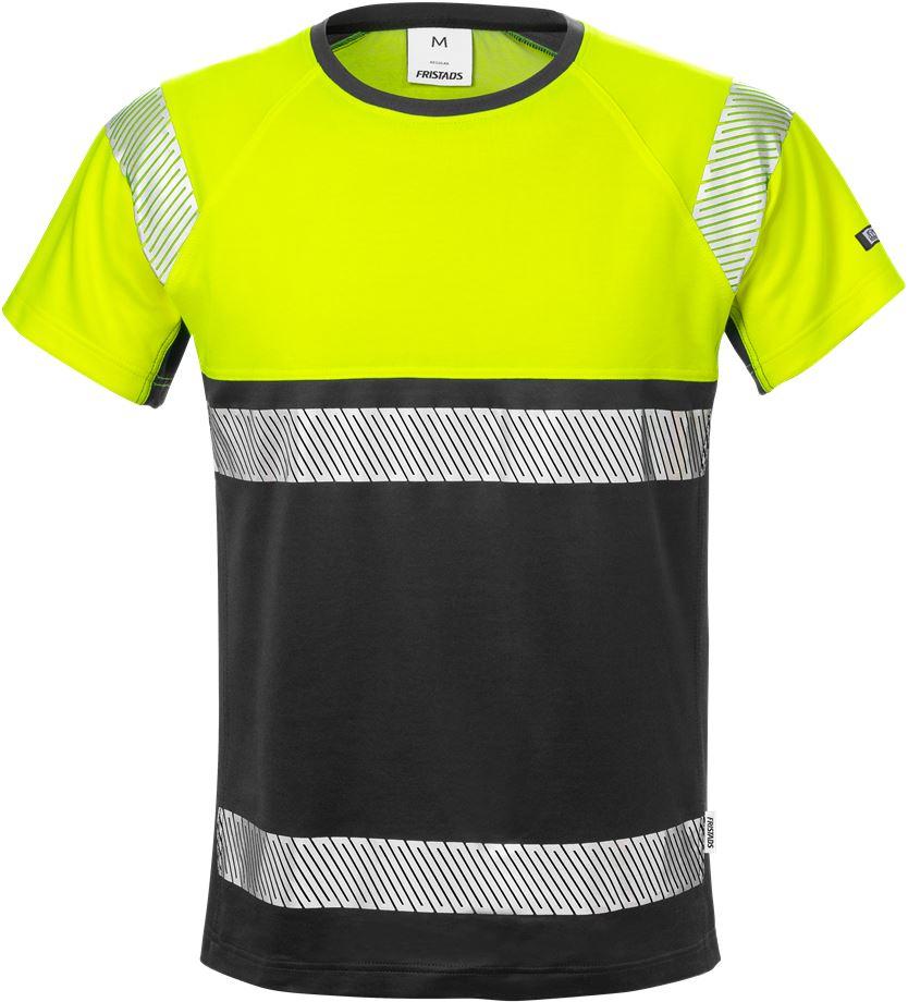 Fristads Men's Varsel T-shirt 7518 THV, klass 1, Varsel Gul/Svart