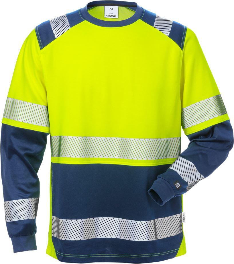 Fristads Men's Varsel långärmad T-shirt 7457 THV, klass 2, Varsel Gul/Marinblå