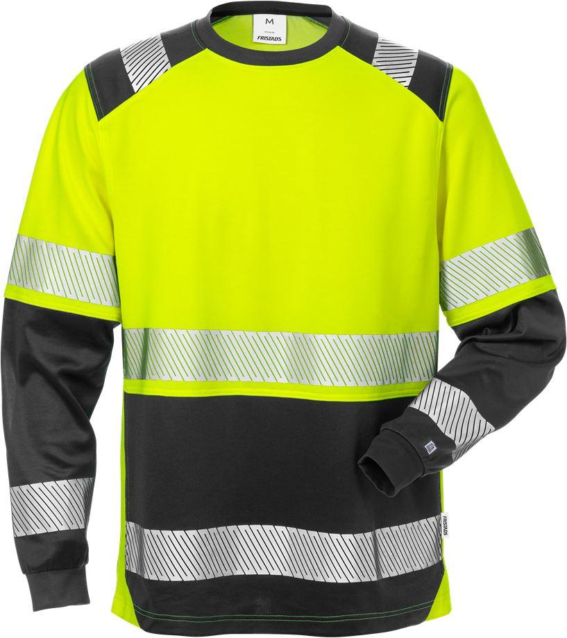 Fristads Men's Varsel långärmad T-shirt 7457 THV, klass 2, Varsel Gul/Svart