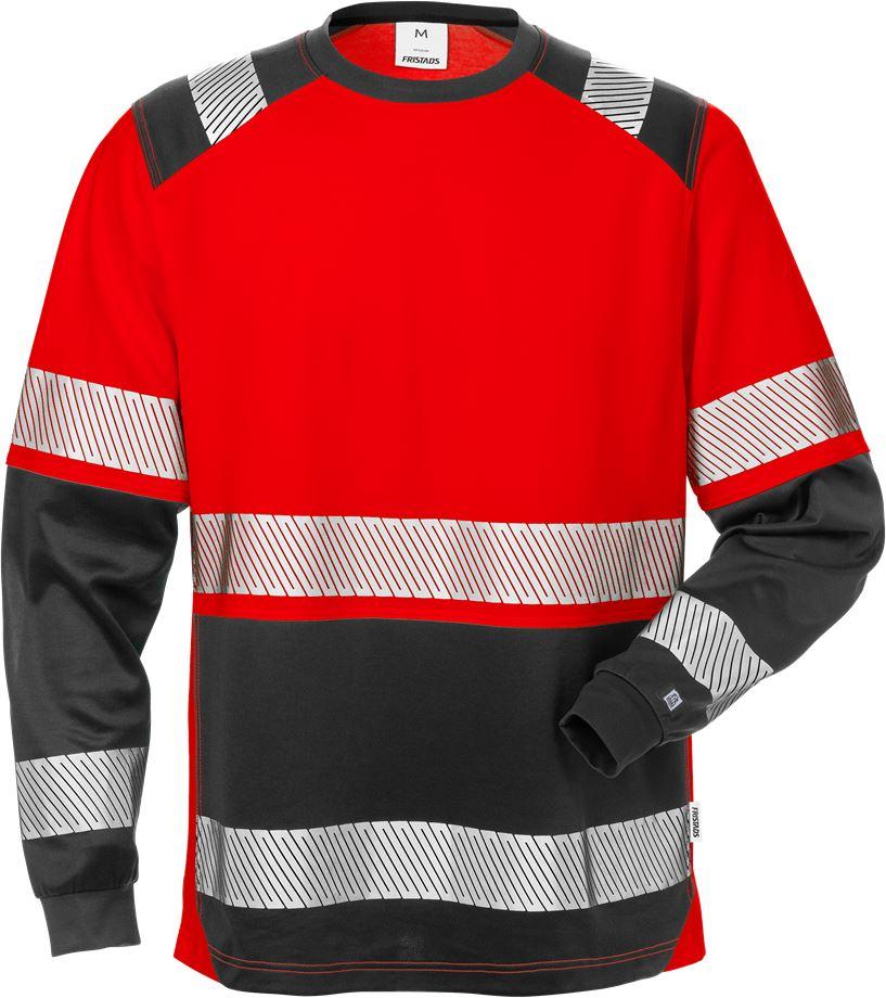 Fristads Men's Varsel långärmad T-shirt 7457 THV, klass 2, Varsel Röd/Svart