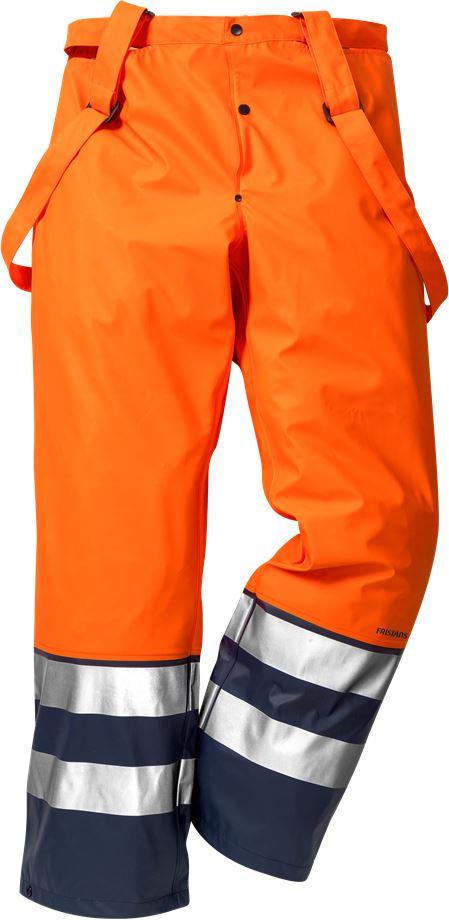 Fristads Men's Varsel Regnbyxa 2625 RS, klass 2, Varsel Orange/Marinblå