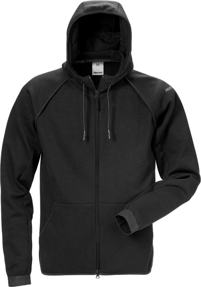 Fristads Men's Sweatshirt-jacka med huva 7462 DF, Svart