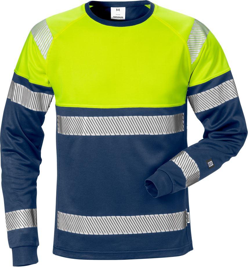 Fristads Men's Varsel långärmad T-shirt 7519 THV, klass 1, Varsel Gul/Marinblå
