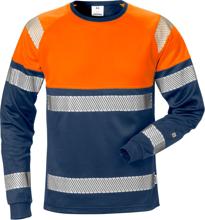 Fristads Men's Varsel långärmad T-shirt 7519 THV, klass 1, Varsel Orange/Marinblå